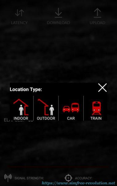 中央のボタンをタップすると測定環境の選択が表示される。選択後に速度測定が始まる。