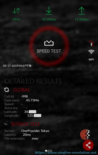 SPEED TESTの結果。画面上に速度が表示されている。